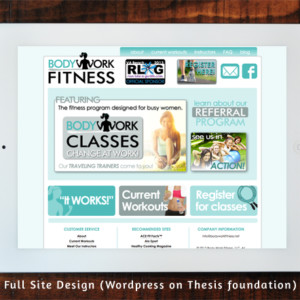 BodyWork Fitness Full Site Design (Wordpress + Thesis)