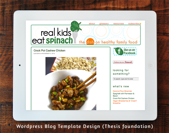 Real Kids Eat Spinach - Wordpress Blog Template Design (Thesis foundation)