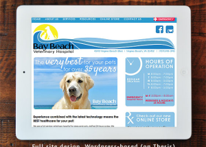 Bay Beach Veterinary Hospital Full Site Design on Wordpress/Thesis