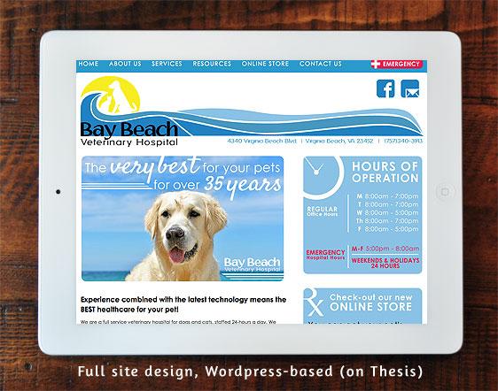 Bay Beach Veterinary Hospital Full Site Design on Wordpress/Thesis