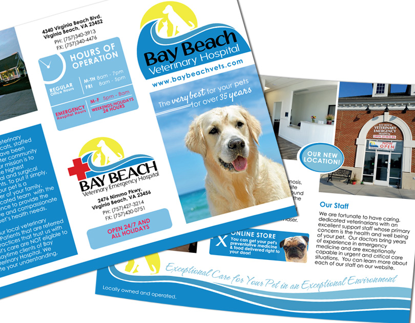 Bay Beach Veterinary Hospital Trifold Brochure Design