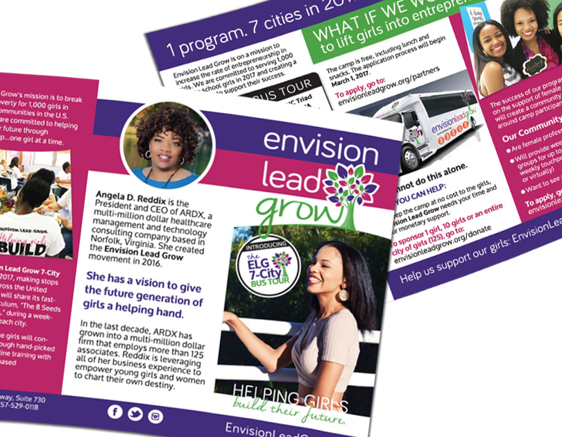 Envision Lead Grow Trifold Brochure Design