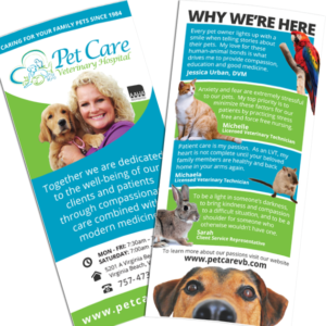 RACK CARD DESIGN: Pet Care Veterinary Hospital