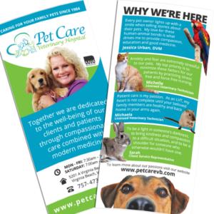 RACK CARD DESIGN: Pet Care Veterinary Hospital